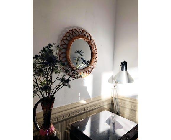Miroir sorcière rotin années 70 - 46cm
