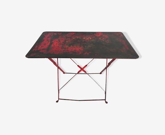 Table de jardin industrielle pliante en acier - métal - rouge ...