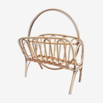 Vintage mid century bamboo and wicker magazine rack