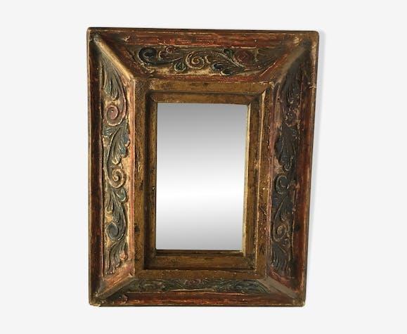 Miroir ancien en bois 23 x 18 cm