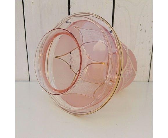 Globe en verre rose, vintage, année 50