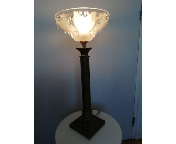 Lampe vasque verre Ezan France pied style empire