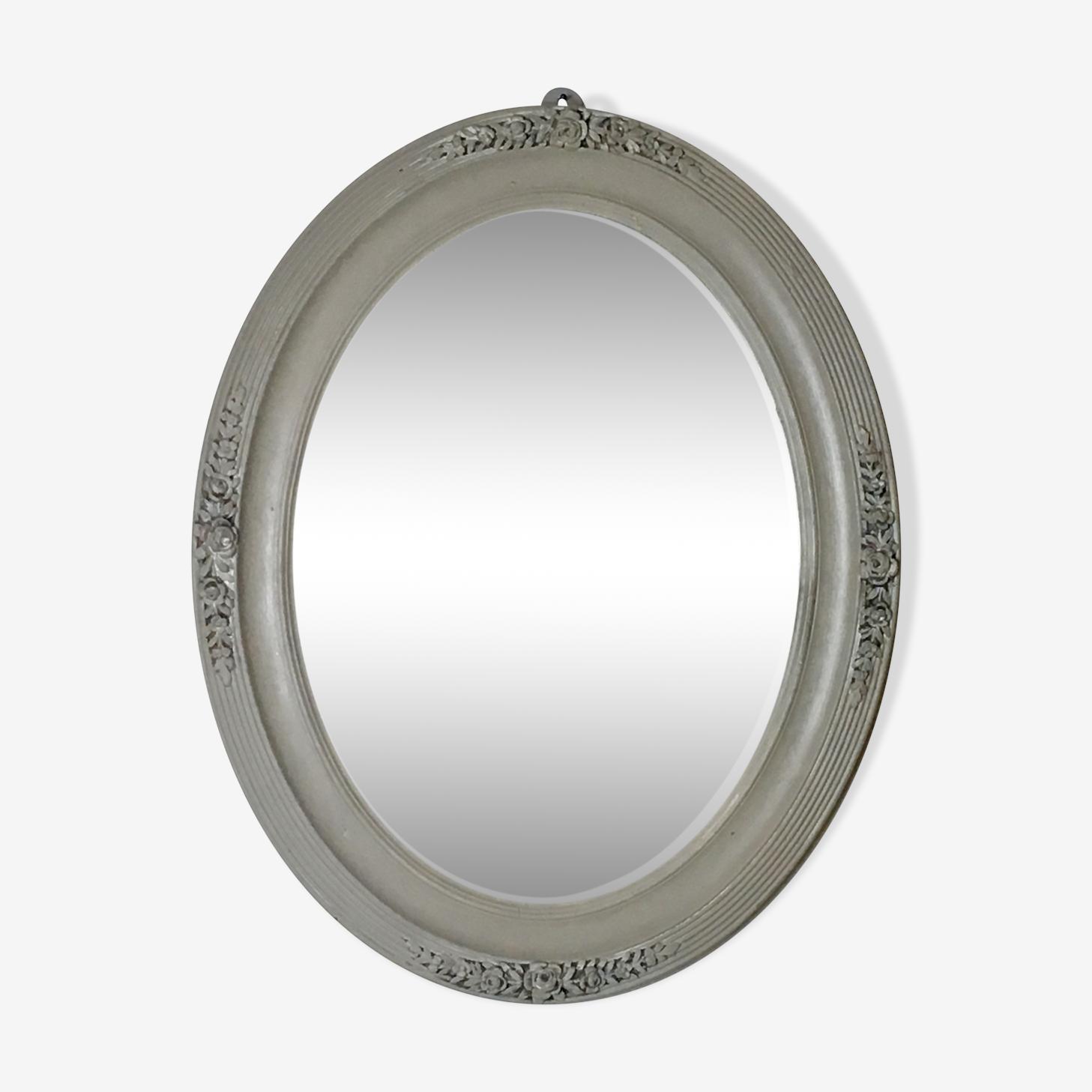 Miroir ovale 19ème au mercure patine shabby 40x50cm