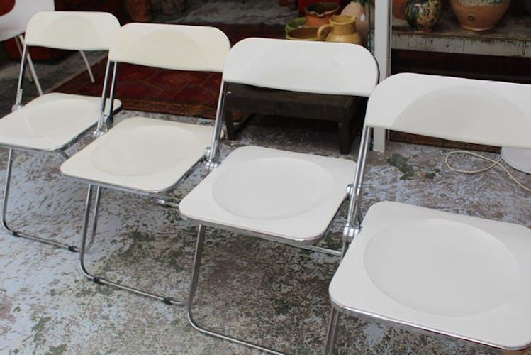 Série de 4 chaises Plia Castelli blanches