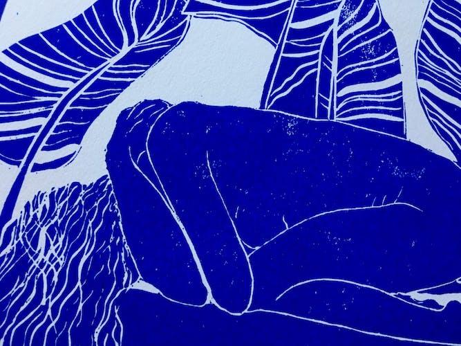 Linogravure Linocut Femme