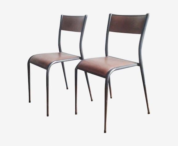 Paire de chaises d'école mullca pieds compas