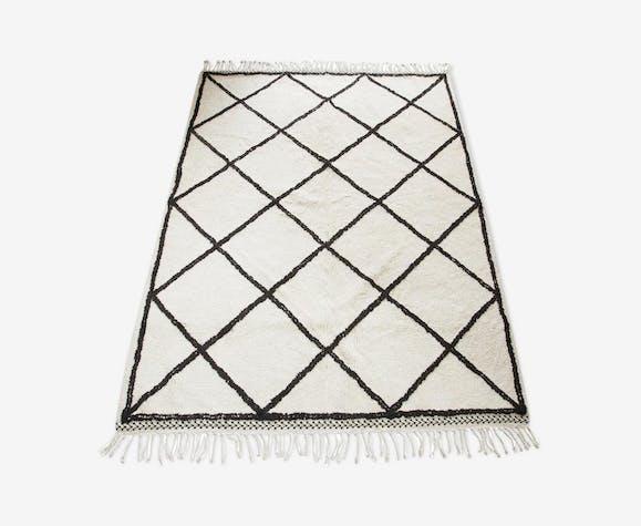 Tapis Berbere Grands Losanges Noir Et Blanc 240x170 Lainecoton