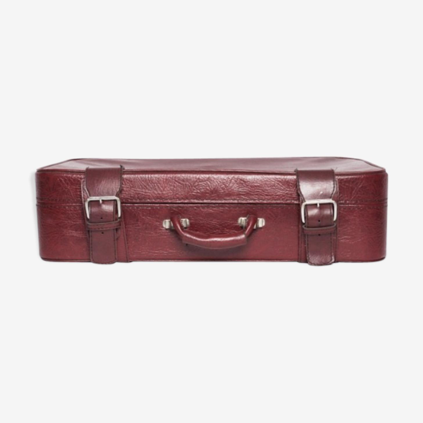 Valise rouge en simili cuir