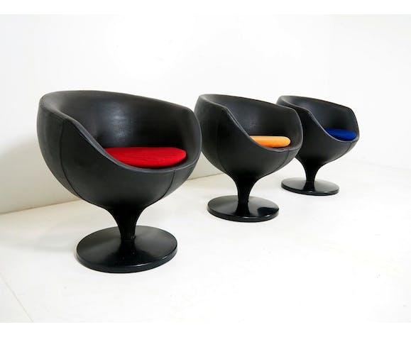 Suite de 3 chaises Luna de Pierre Guariche édition Meurop 1967