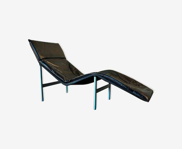 Chaise longue scandinave en cuir noir 70-80's - cuir - noir - design on chaise furniture, chaise sofa sleeper, chaise recliner chair,