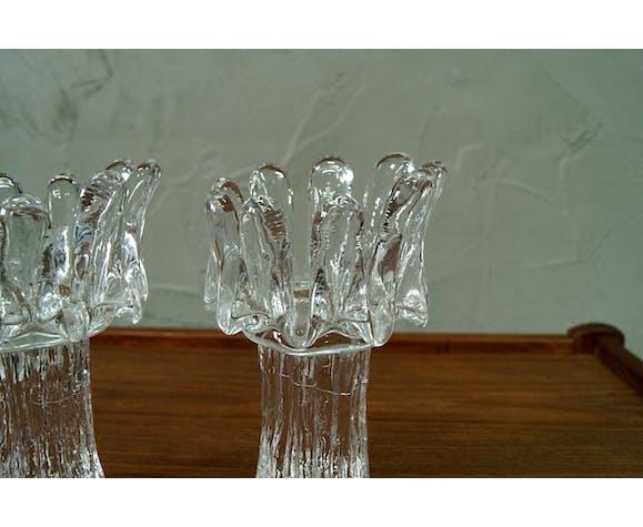 Ensemble de 2 porte-bougies de tournesol conçus par Gâran Wurff pour Kosta Boda , années 1970