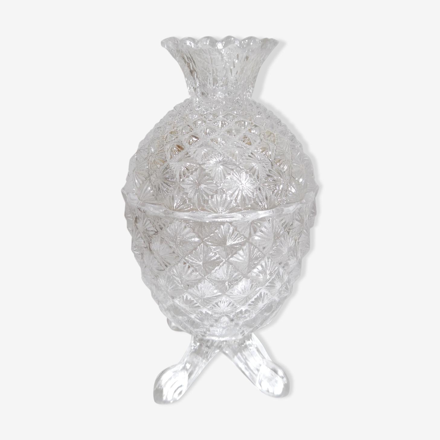 Bonbonnière en cristal, taillée en forme d'ananas