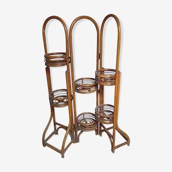 Rattan folding pot holder shelf