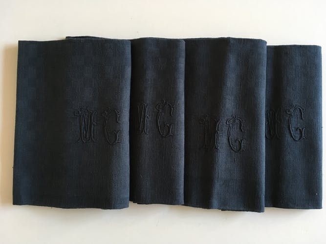 Set of 4 old black damask towels embroidered monogram MC, circa 1920