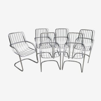Lot of 6 chrome chairs Cidue edition, Italy 70s/80s