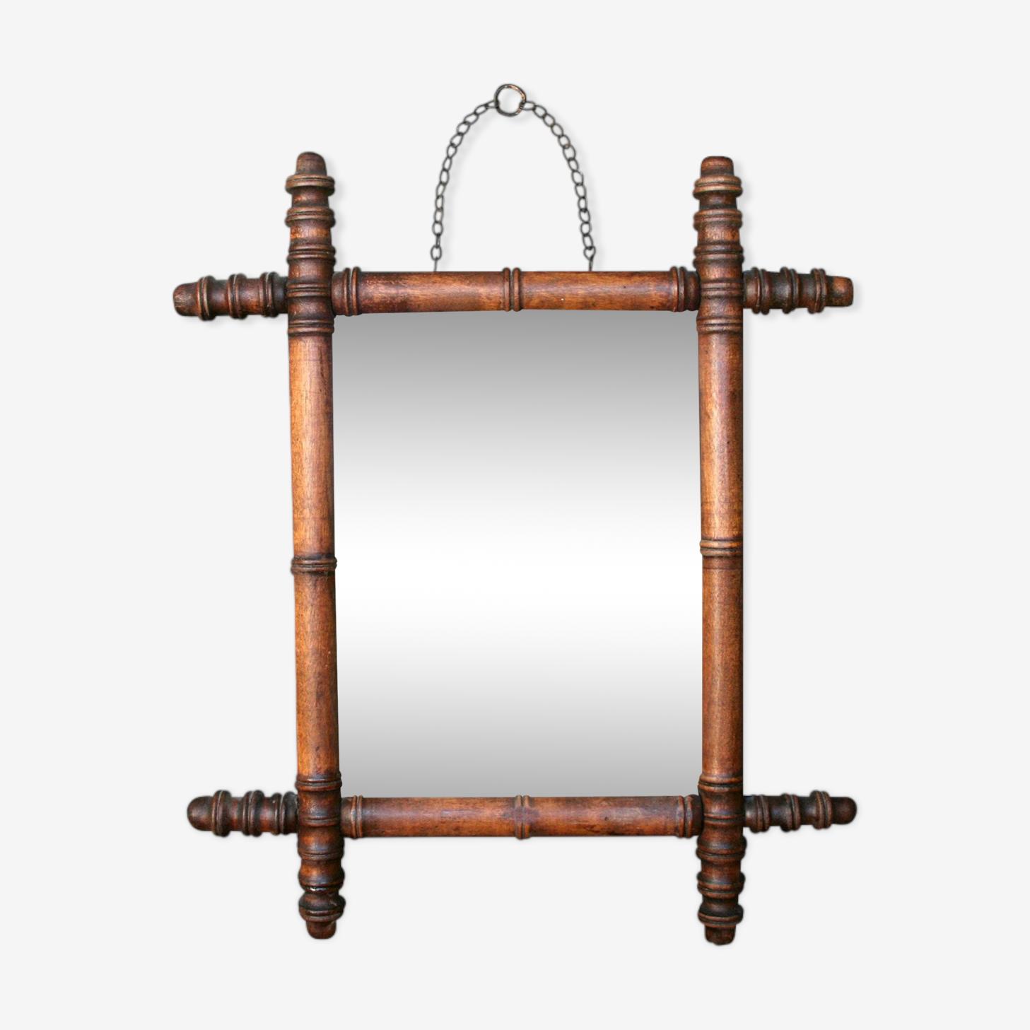 Miroir en bois façon bambou art déco 37x31cm