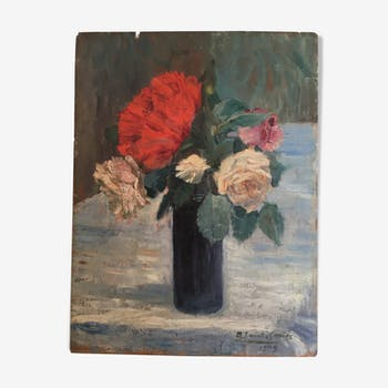 Bouquet of flowers, oil on wood signed Saint-Granier 1909