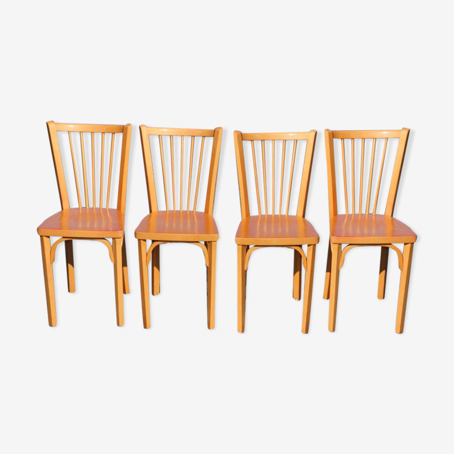 4 chaises Baumann n°12 hêtre clair
