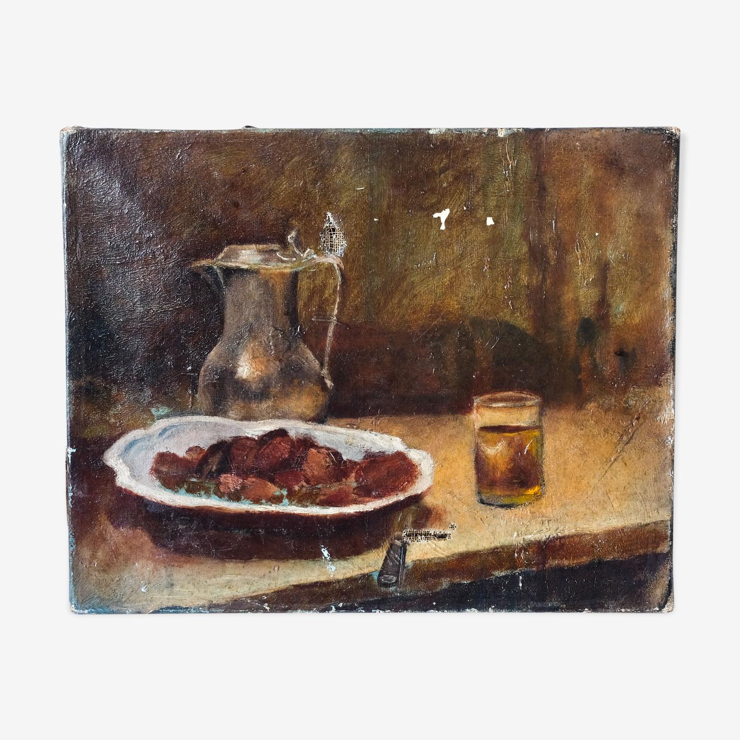 Peinture ancienne - nature morte aux marrons