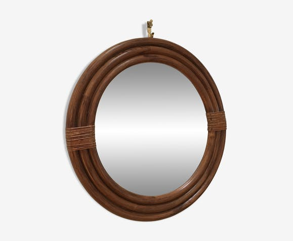Miroir vintage en rotin et bambou 31 cm