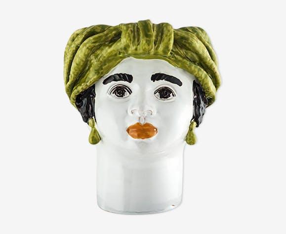 Vase tête moyenne verte femme