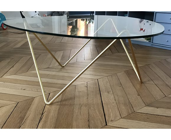 Coffee Table Gubi Brass And Glass Selency