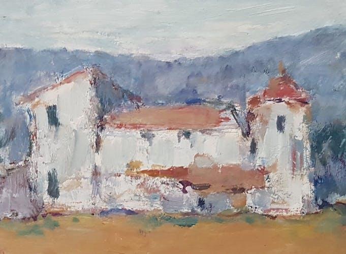 "Peinture de Nagao Usui  ""Provence, une bastide"""