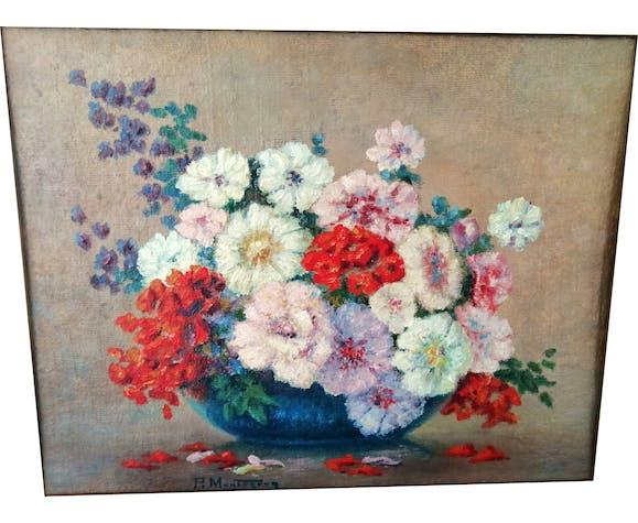 Nature morte aux fleurs signée P. Montagnac
