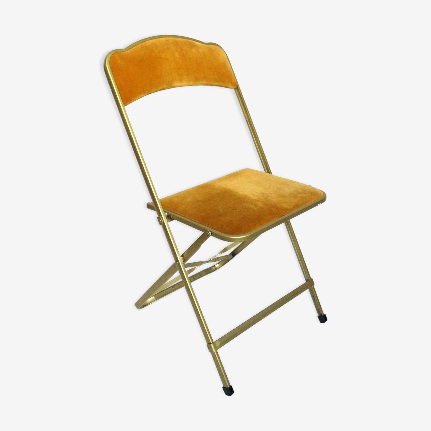 Chaise pliante en velours et métal doré