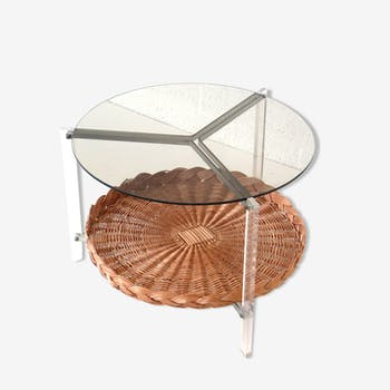 Vintage Italian design rattan coffee table