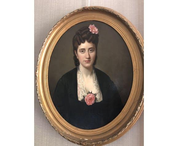 Portrait d'une élégante à la rose