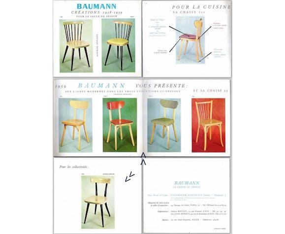 Lot 6 chaises Baumann banane 1958-1962