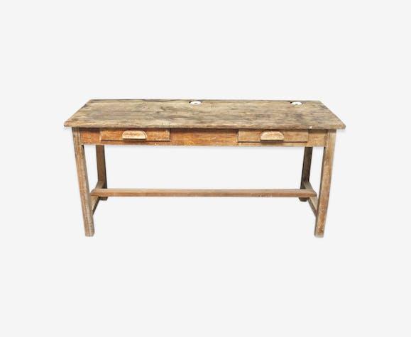 ancien bureau enfant d 39 colier avec encriers bois. Black Bedroom Furniture Sets. Home Design Ideas