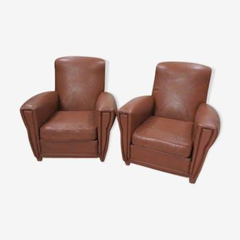 Paire de fauteuils club années 60