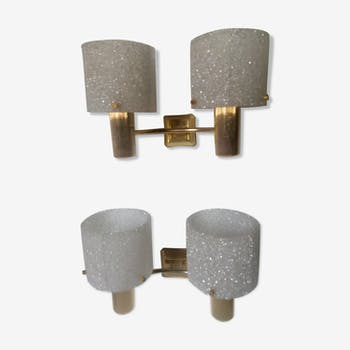 Pair of brass and perspex sconces in the 70s