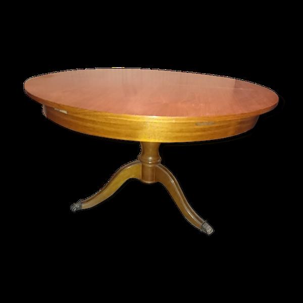Table ronde en bois avec rallonge pieds central