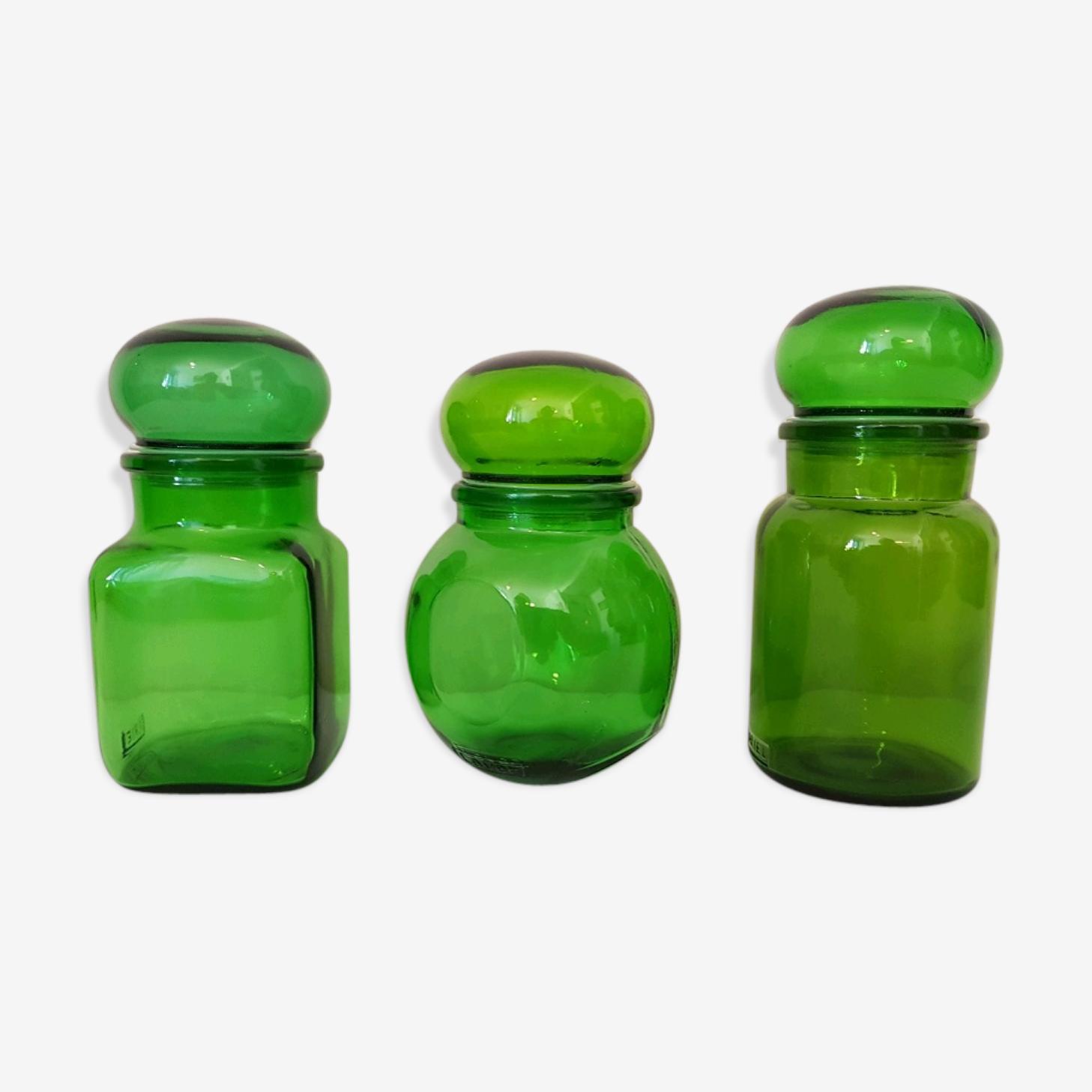 3 bocaux en verre de couleurs verte 70