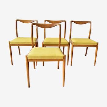 Set de 4 chaises scandinaves tissus et teck
