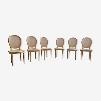Lot de 6 chaises médaillon cannées