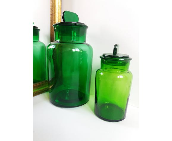 Duo of green apothecary jars
