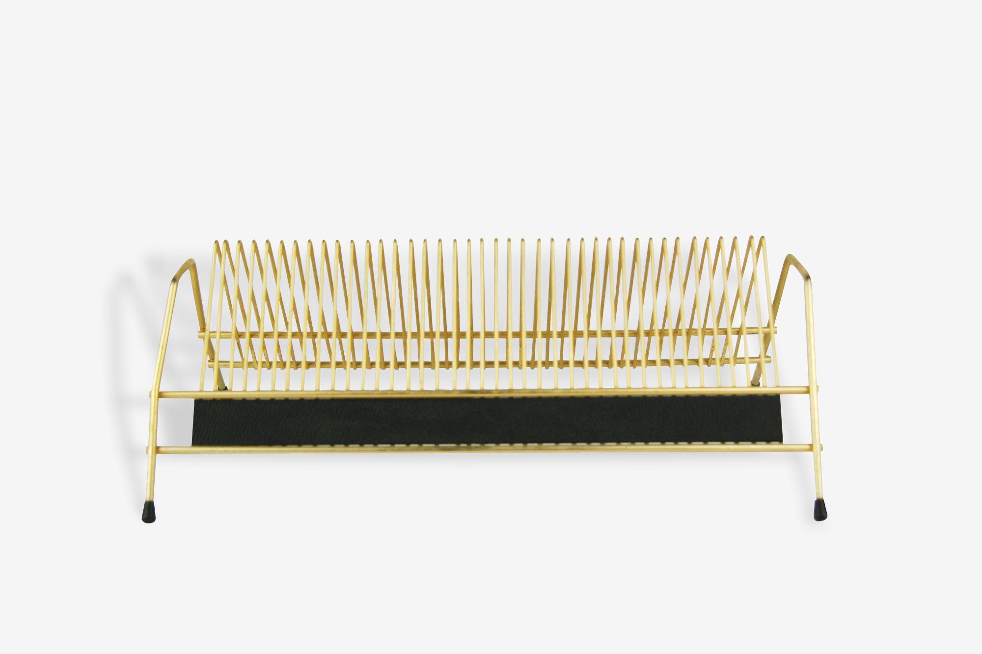 Porte-vinyles 45 tours en métal doré