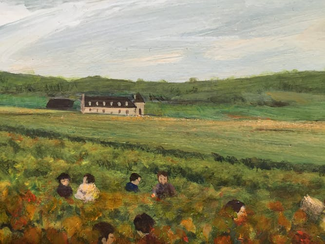 Table oil on canvas the harvest at the Vougeot wall