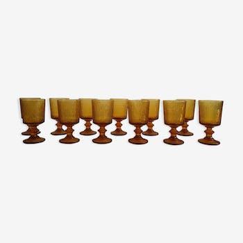Twelve wines vintage glasses
