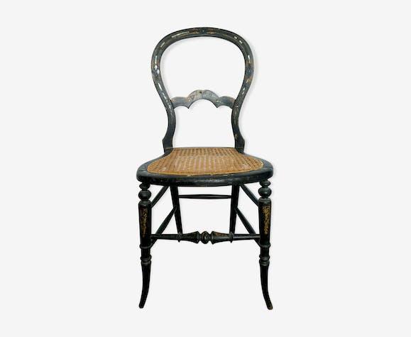 Chaise cannée Napoléon III en bois noirci et nacre - bois ...