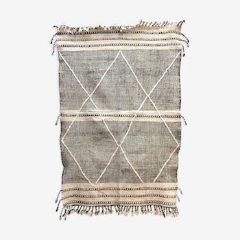 Kilim zanafi black and white Berber carpet with diamonds 2,01x1.35m