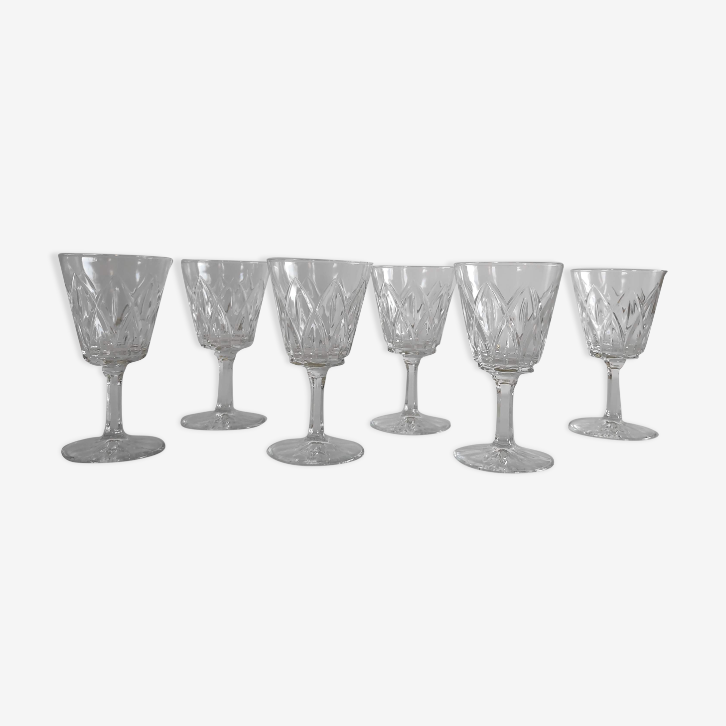6 water goblets vintage in cast glass in the 1960s