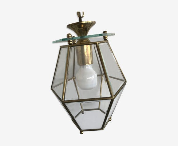 Glass and brass lantern suspension