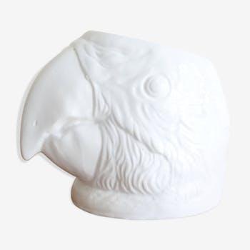 Vintage ceramic pot cover: parrot head, 80s