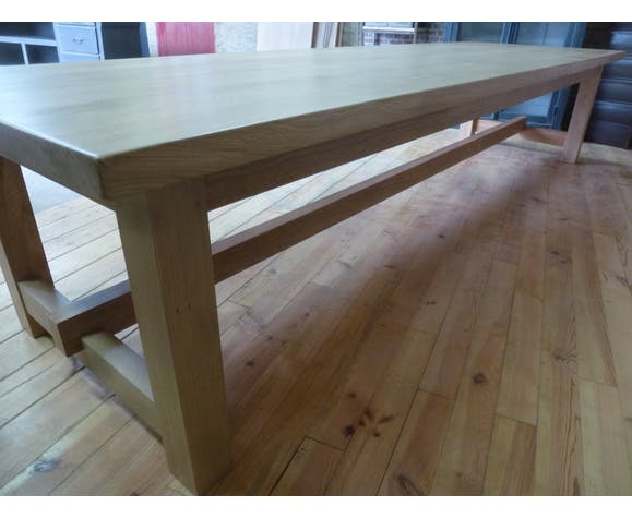 Country farmhouse table in solid oak 350 cm