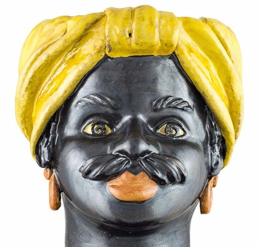 Vase tête moyenne jaune homme